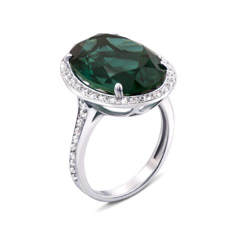Серебряное кольцо с зеленым кварцем и фианитами (1684/9р)