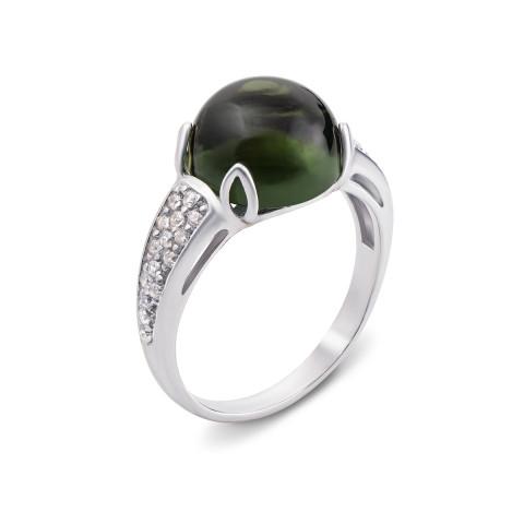 Серебряное кольцо с зеленым кварцем и фианитами (1706/9р)