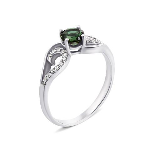 Серебряное кольцо с зеленым кварцем и фианитами (1936/9р)