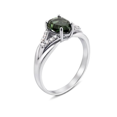 Серебряное кольцо с зеленым кварцем и фианитами (1937/9р)