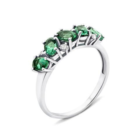 Серебряное кольцо с зеленым кварцем и фианитами (1955/9р)