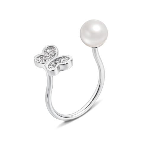 Серебряное кольцо с жемчугом и фианитами (1RI56952/0-R)