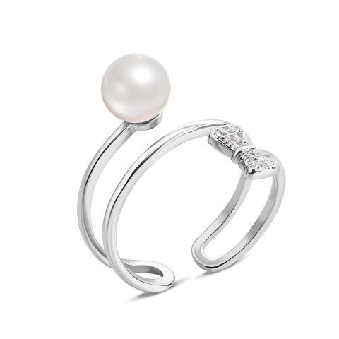 Серебряное кольцо с жемчугом и фианитами (1RI58355/0-R)