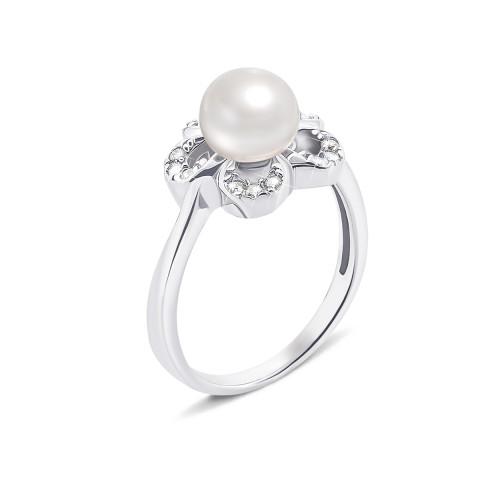 Серебряное кольцо с жемчугом и фианитами (PSS0021R)