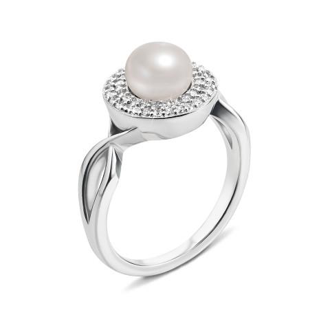 Серебряное кольцо с жемчугом и фианитами (PSS0029-R)