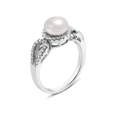 Серебряное кольцо с жемчугом и фианитами (PSS0332-R)
