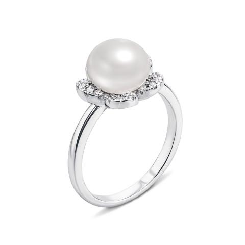 Серебряное кольцо с жемчугом и фианитами (PSS1100-R)