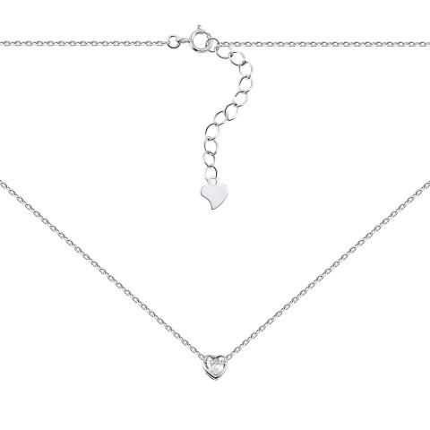 Серебряное колье Сердце с фианитом (1NE56479)