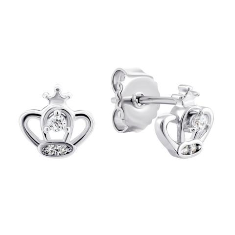 Серебряные пуссеты Корона с фианитами (TE3933)