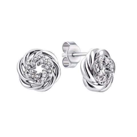 Серебряные пуссеты с фианитами (1EA93455)