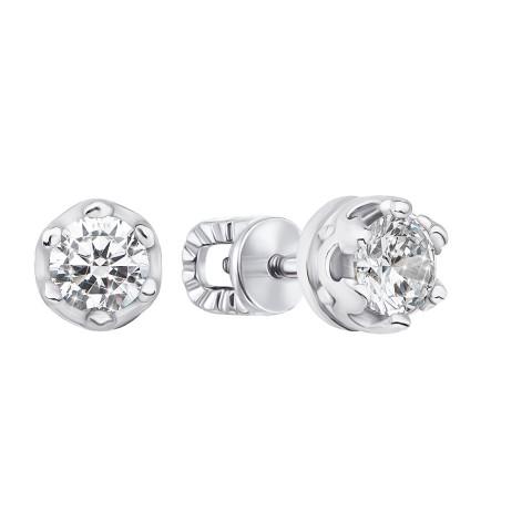 Серебряные пуссеты с фианитами (40171/12/1/29)