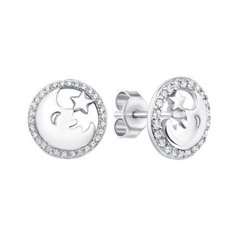 Серебряные пуссеты «Звезда и месяц» с фианитами (ES0163EP-E)