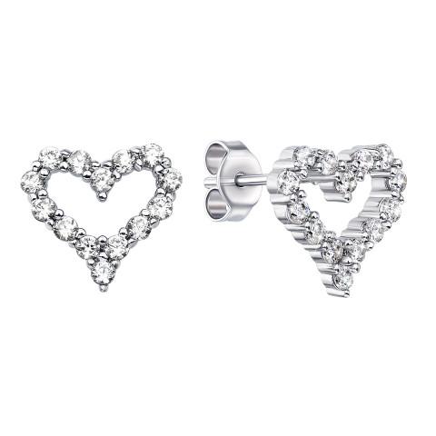 Серебряные пуссеты Сердце с фианитами (PESS0549-E)