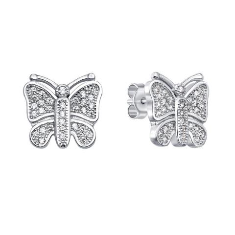 Серебряные пуссеты «Бабочки» с фианитами (PESS0561-E)