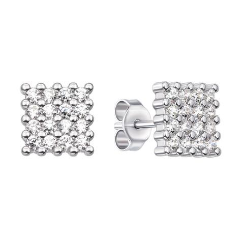 Серебряные пуссеты с фианитами (SE07510-E)