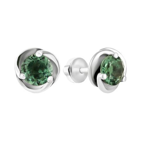 Серебряные пуссеты с зеленым кварцем (2088/9р-QGR)