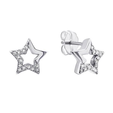Серебряные пуссеты Звездочки с фианитами (S1254)