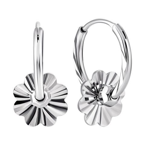 Серебряные серьги-конго (2E24422)