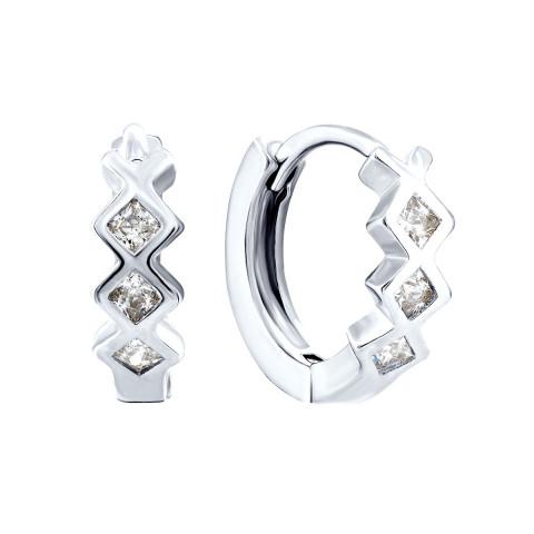 Серебряные серьги-конго с фианитами (1EA32811-E)