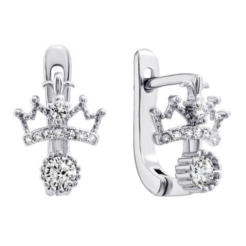 Серебряные серьги Корона с фианитами (С2Ф/347)