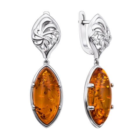 Серебряные серьги-подвески с янтарем и фианитами (40335/12/1/555)