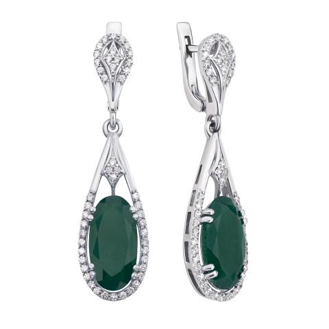 Серебряные серьги-подвески с зеленым агатом и фианитами (2182/9р)