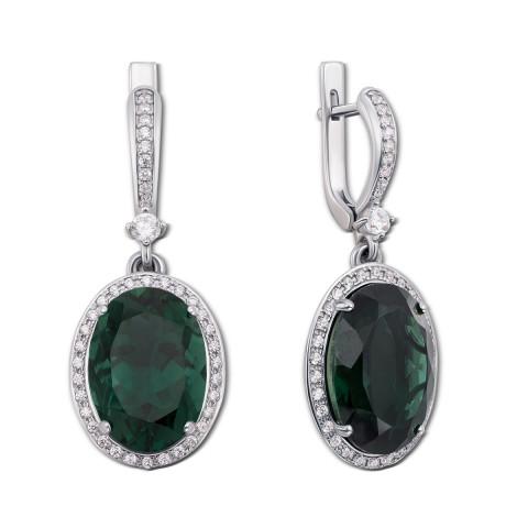 Серебряные серьги-подвески с зеленым кварцем и фианитами (2180/9р)