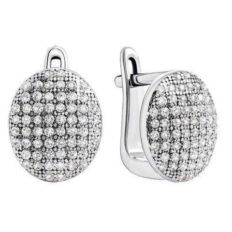 Серебряные серьги с фианитами (E08419)