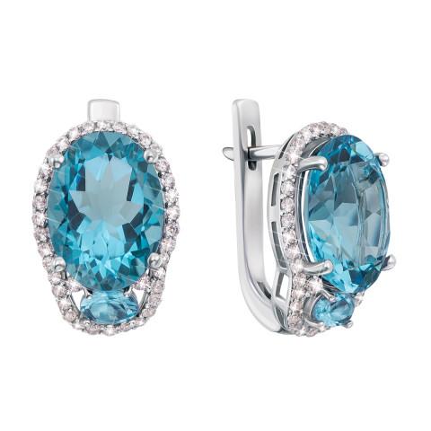 Серебряные серьги с голубым кварцем и фианитами (2126/9р)