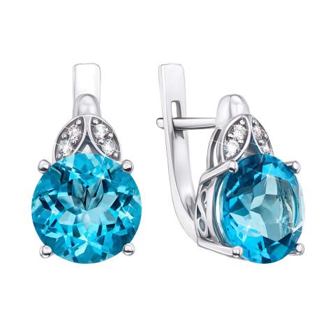Серебряные серьги с голубым кварцем и фианитами (2511/9р)
