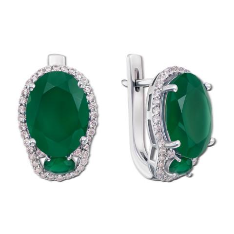 Серебряные серьги с зеленым агатом и фианитами (2126/9р)