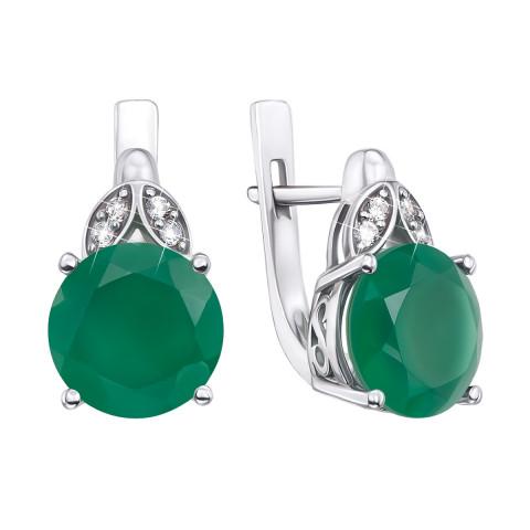 Серебряные серьги с зеленым агатом и фианитами (2511/9р)