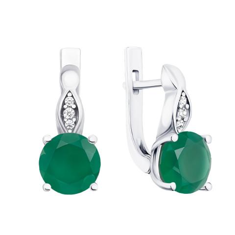 Серебряные серьги с зеленым агатом и фианитами (2528/9р)