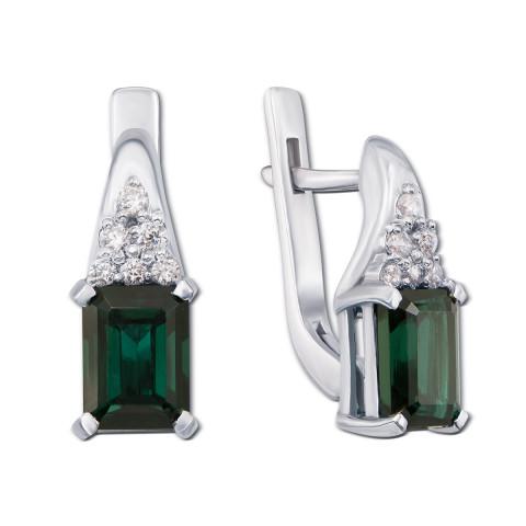 Серебряные серьги с зеленым кварцем и фианитами (2155/9р)