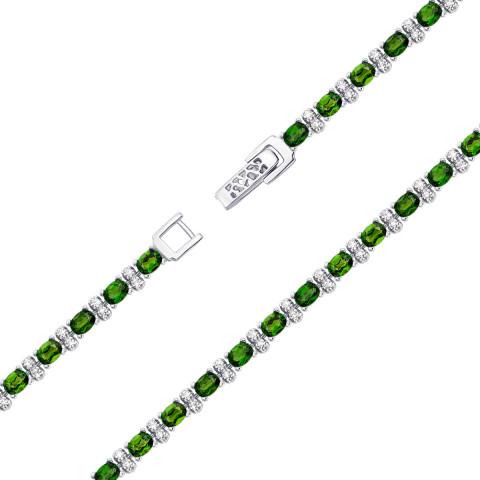 Серебряный браслет с хромдиопсидом (Тд0029/хром-B)