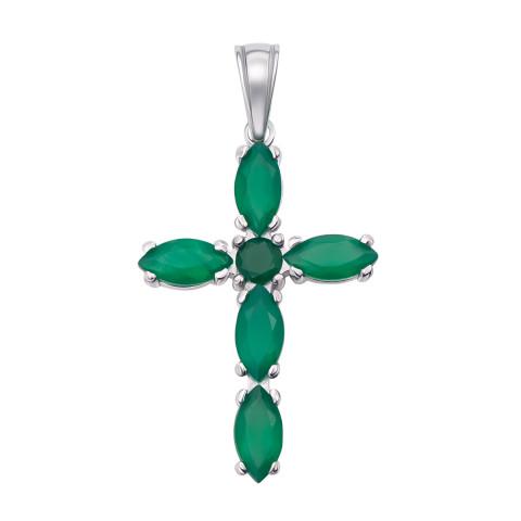 Серебряный крестик с зеленым агатом (3660р)