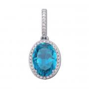 Серебряная подвеска с голубым кварцем и фианитами (3681р)