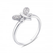 Серебряное кольцо «Бабочка» с фианитами (S500-R)
