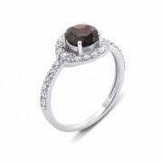 Серебряное кольцо с дымчатым кварцем и фианитами (1596/9р)