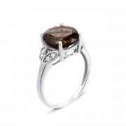 Серебряное кольцо с дымчатым кварцем и фианитами (1963/9р)