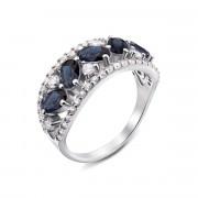 Серебряное кольцо с гидротермальным сапфиром и фианитами (1601/9р)