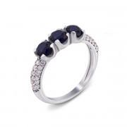Серебряное кольцо с гидротермальным сапфиром и фианитами (1631/9р)