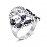 Серебряное кольцо с гидротермальным сапфиром и фианитами (1640/9р)