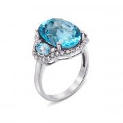 Серебряное кольцо с голубым кварцем и фианитами (1628/9р)