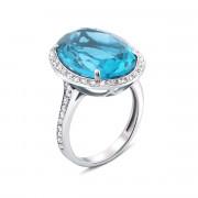 Серебряное кольцо с голубым кварцем и фианитами (1684/9р)