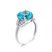 Серебряное кольцо с голубым кварцем и фианитами (1963/9р)