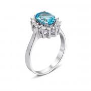 Серебряное кольцо с голубым топазом и фианитами (Тд0004/топsw-R)