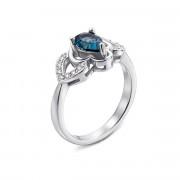 Серебряное кольцо с лондон-топазом и фианитами (Тд0005/топld-R)
