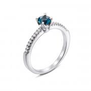 Серебряное кольцо с лондон-топазом и фианитами (Тд0024/топld-R)