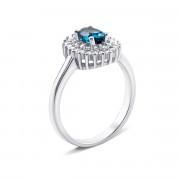 Серебряное кольцо с лондон-топазом и фианитами (Тд0050/топld-R)